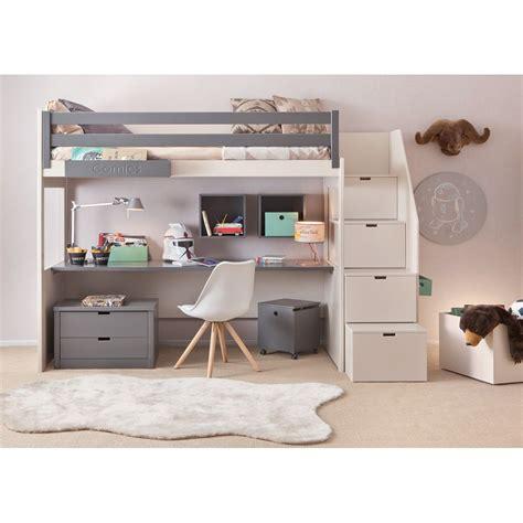 lit en hauteur avec bureau chambre complete pour enfants ados avec lit mezzanine