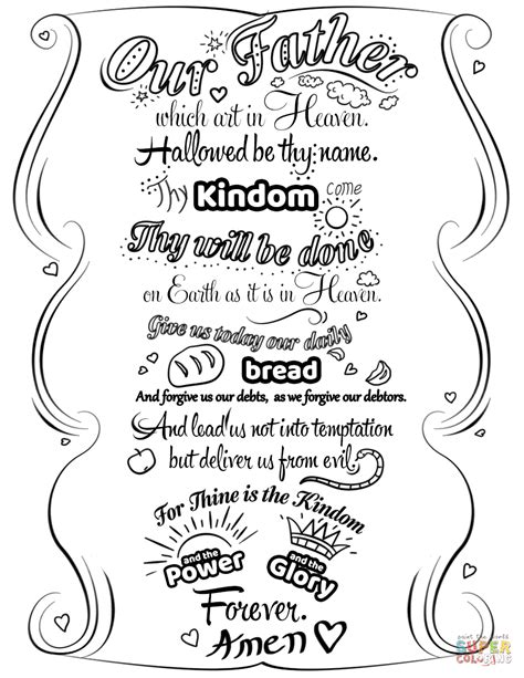 printable lords prayer coloring pages  printable