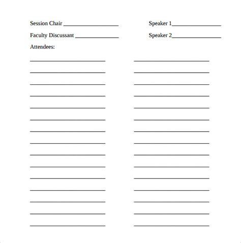 sample seminar sign  sheet templates  ms word