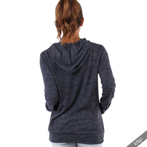 womens soft marl knit hoodie hooded baggy jumper