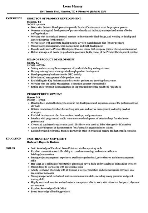Resume Build Relationships by Product Development Resume Sles Velvet