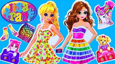 lisa frank toy review  paper dolls dress  stickers
