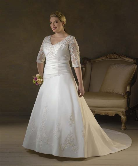 plus size 3 4 lace sleeves wedding dress gown