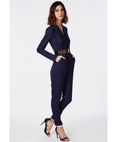 wrap jumpsuit missguided premium tailored crepe wrap jumpsuit navy in