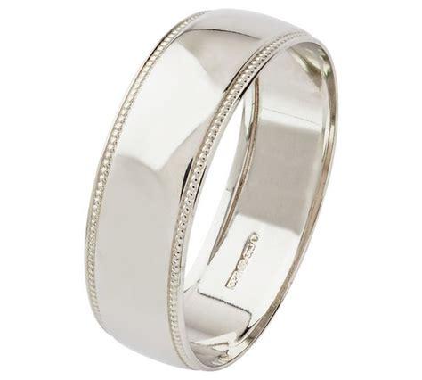buy 9ct white gold 6mm d shape milgrain wedding ring at