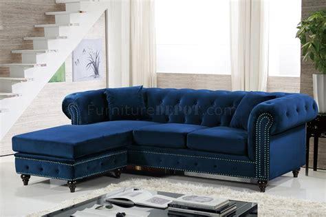 sabrina sectional sofa   navy velvet fabric  meridian