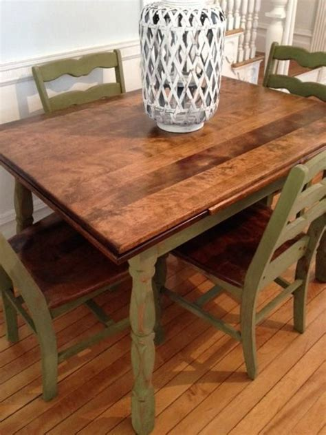 antique maple dining table  chairs refinished  green