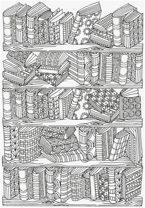 adult coloring pages bookshelves art journaling doodl