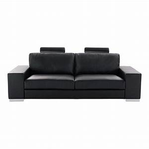 canape convertible 3 places en cuir noir daytona maisons With canape 3places cuir