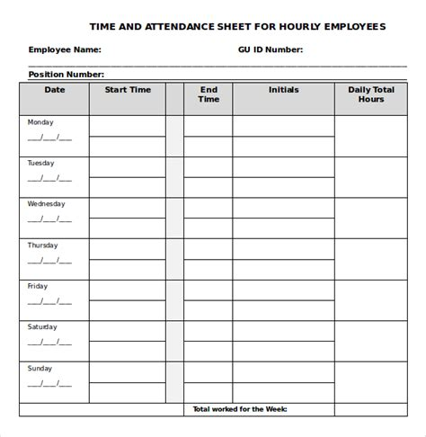 daily timesheet templates  sample