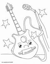 Guitar Coloring Electric Pages Printable Colouring Getcolorings Getdrawings Acoustic sketch template