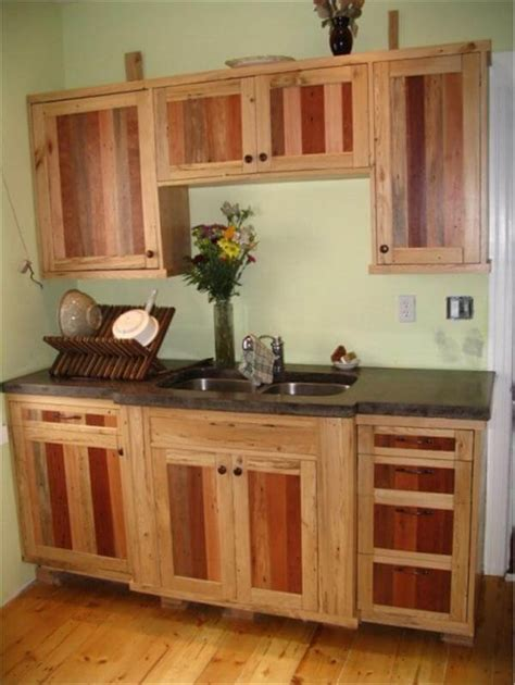Kitchen Cabinet Doors From Pallets by Diy Pallet Kitchen Cabinets Low Budget Renovation 99