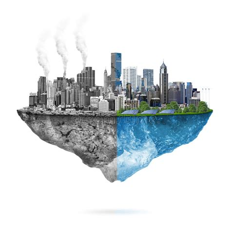 Green Ecology Vs Pollution Stock Illustration