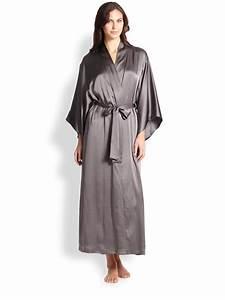 lyst josie natori silk kimono long robe in metallic With robe kimono longue