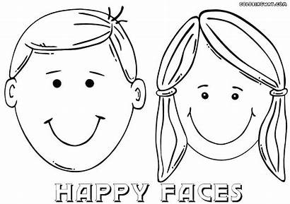 Coloring Face Boy Smiley Pages Template Outline