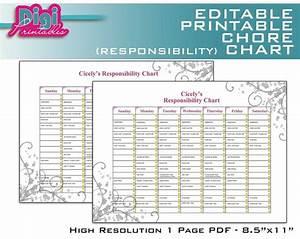Editable Printable Chore Chart Responsibility Chart 8