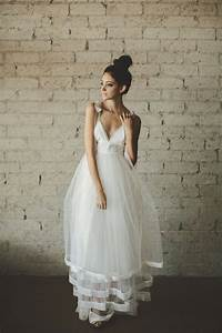 Deep v neck floor length a line tiered tulle wedding dress for Deep v neck wedding dress