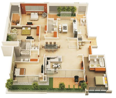 4 bedroom floor plans one 4 bedroom apartment house plans