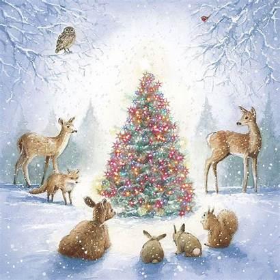 Christmas Animals Tree Winter Animated Woodland Gifs