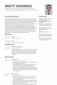 esl teacher exemple de cv base de donnees des cv de visualcv With english teacher resume template