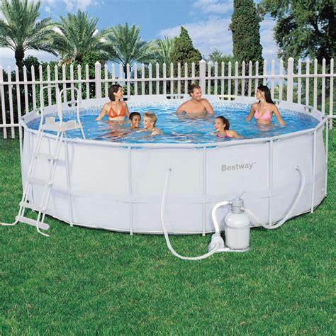 poolset mit sandfilteranlage bestway steel pro pool set 457x122 mit sandfilter 56254