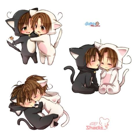 anime couple and cat render chibi couple neko hybrids fantasy png cutout