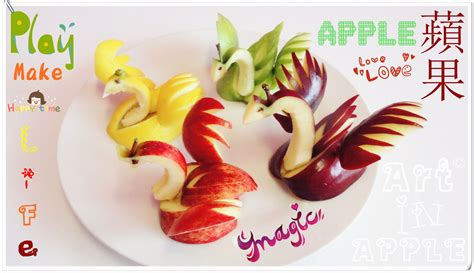 how to design fruits art in apples show fruit carving apple swan fruit decoration youtube