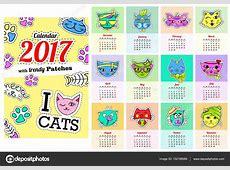 Calendario 2017 con los gatos En dibujos animados de los