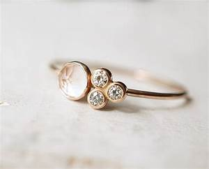 Rose quartz ring moissanite ring multi stone ring by luxuring for Quartz wedding rings