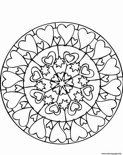 Mandala Coloring Pages Easy Printable Heart Lots