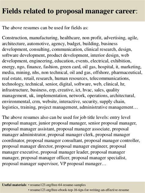 top  proposal manager resume samples