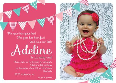 Baby Girl's 1st Birthday Invitation Cards Ideas