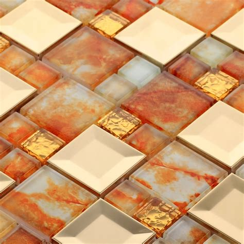 ehd2006 stainless steel mixed orange color glass mosaic