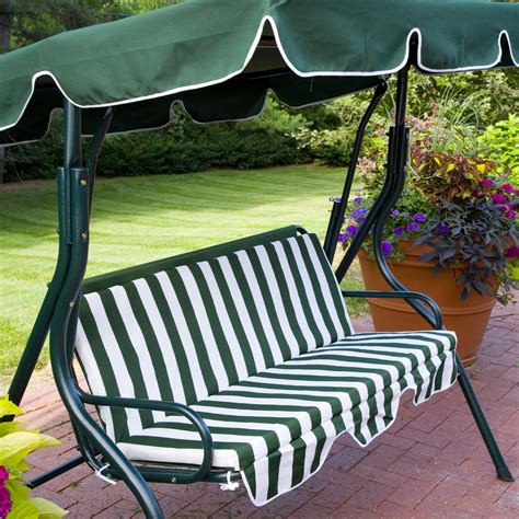 canapé swing outdoor green stripe patio sling swing glider furniture
