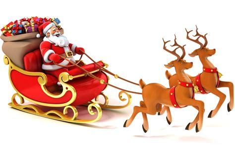 happy santa and reindeer wallpaper for desktop