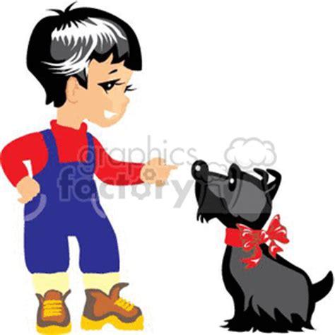 royalty    boy training  dog  vector