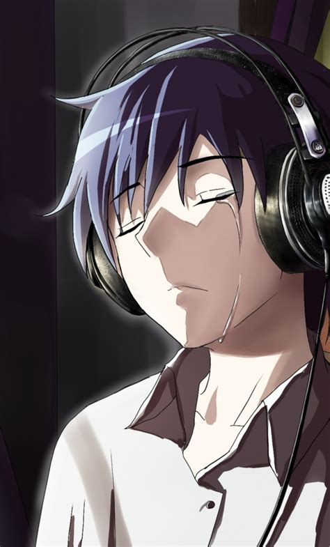 1280x2120 Anime Boy Crying In Front Of Apple Laptop Iphone