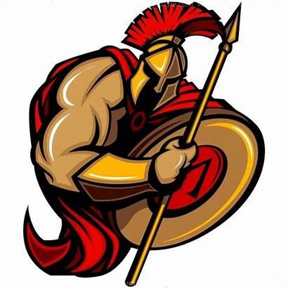 Spartan Mascot Cartoon Vector Spear Trojan Holding