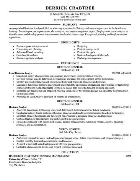 resume business and business analyst on