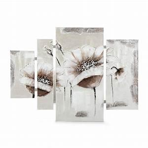 Toile Deco Salon : ensemble de 4 peintures sur toile blanc malice toiles d coratives affiches et d co murale ~ Teatrodelosmanantiales.com Idées de Décoration