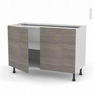 meuble de cuisine bas stilo noyer naturel 2 portes l120 x With meuble bas de cuisine 120 cm 11 cuisine marais