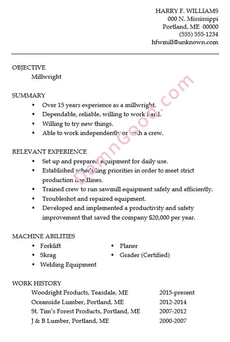 Him Resume Objective by Resume Sle Millwright Damn Resume Guide