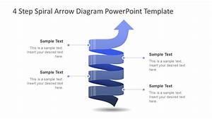 4 Step Spiral Arrow Diagram Powerpoint Template