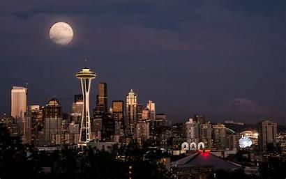 Seattle Desktop Needle Space Tower Skyline Desktopwalls