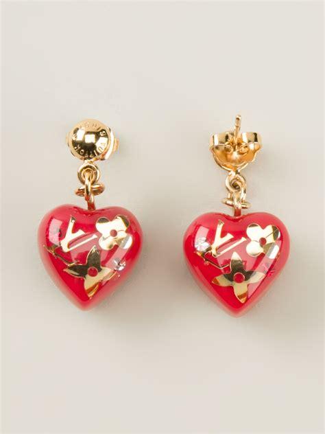 louis vuitton heart earrings  red lyst