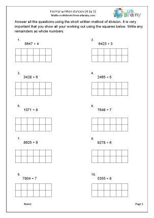 formal written short division    division maths