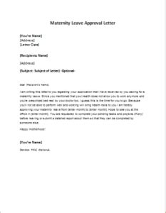 maternity leave approval letter writelettercom