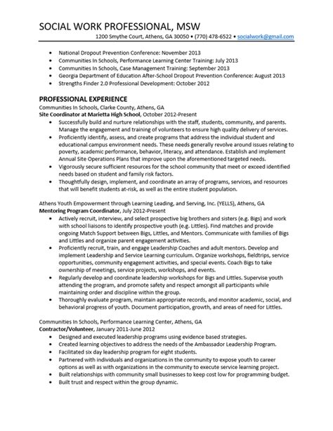 How To Create A Social Work Resume by Sle Social Work Resume Berathen