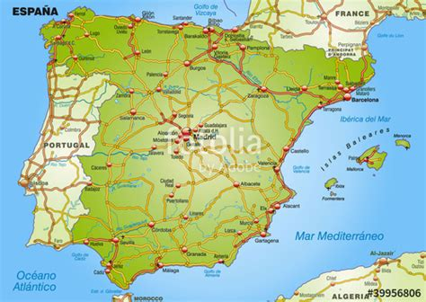 Carte D Espagne Avec Villes by Quot Landkarte Spanien Mit Autobahnen Und Hauptst 228 Dten