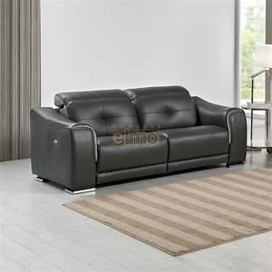 relax canape relaxation moderne 3 places cuir noir cobra With canape cuir 3 places relaxation